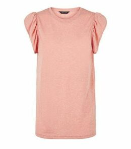 Mid Pink Frill Sleeve T-Shirt New Look