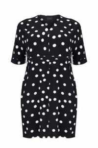 **Live Unlimited Monochrome Polka Dot Dress, Dark Multi