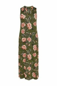 Khaki Floral Maxi Dress, Khaki