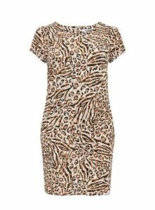 Neutral Animal Print Shift Dress, Beige/Natural