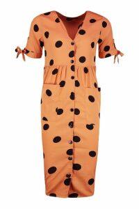Womens Large Polka Dot Button Midi Smock Dress - orange - 8, Orange