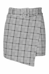 Womens Dogtooth Check Belted Skort - black - 16, Black