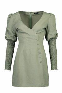 Womens Volume Sleeve Button Through Dress - green - 12, Green