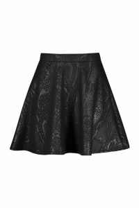Womens Croc Coated PU Skater Skirt - black - 16, Black