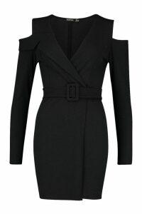 Womens Rib Cold Shoulder Skater Dress - black - 14, Black