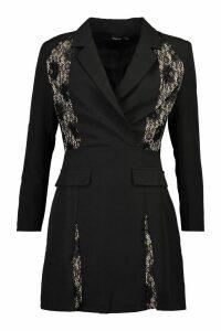 Womens Lace Panel Blazer Dress - black - 14, Black