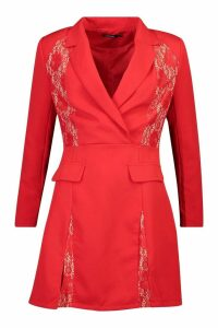 Womens Lace Panel Blazer Dress - red - 14, Red