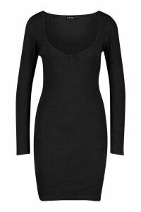 Womens Rib Bust Detail Long Sleeve Mini Dress - black - 16, Black