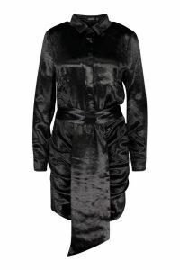 Womens Satin Ruched Shirt Dress - black - 14, Black