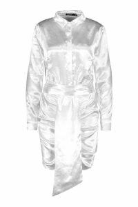 Womens Satin Ruched Shirt Dress - white - 14, White