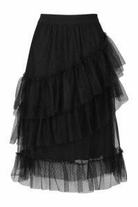 Womens Layered Dobby Mesh Tulle Midi Skirt - black - 14, Black