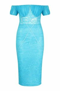 Womens Off The Shoulder Midi Lace Dress - blue - 12, Blue
