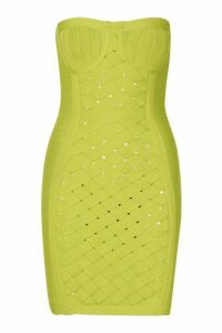 Womens Boutique Contouring Bandage Cupped Mini Dress - green - 8, Green
