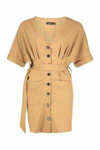 Womens Pocket Button Mini Dress - beige - 16, Beige