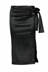 Womens Knot Side Stretch Satin Midi Skirt - black - 16, Black