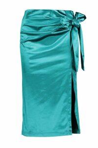 Womens Knot Side Stretch Satin Midi Skirt - green - 16, Green