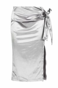Womens Knot Side Stretch Satin Midi Skirt - grey - 16, Grey