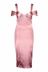 Womens Stretch Satin Bodice Detail Midi Dress - pink - 14, Pink