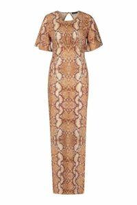 Womens Snake Print High Neck Maxi Dress - brown - 16, Brown