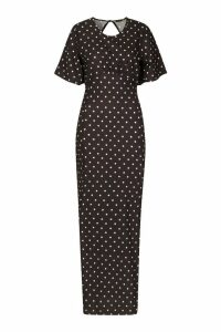 Womens Polka Dot High Neck Maxi Dress - black - 16, Black