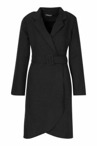 Womens Wrap Belted Blazer Dress - black - 14, Black