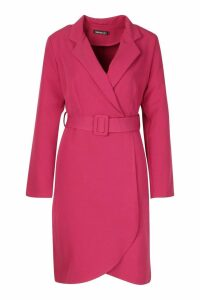 Womens Wrap Belted Blazer Dress - pink - 14, Pink