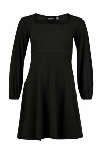 Womens Bell Sleeve Empire Line Skater Dress - black - 14, Black