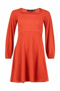 Womens Bell Sleeve Empire Line Skater Dress - orange - 12, Orange