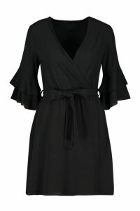 Womens Ruffle Wrap Skater Dress - black - 16, Black