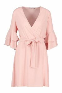 Womens Ruffle Wrap Skater Dress - Pink - 14, Pink