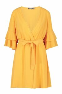 Womens Ruffle Wrap Skater Dress - yellow - 14, Yellow