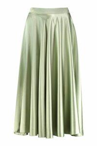 Womens Satin Full Midi Skirt - green - 16, Green