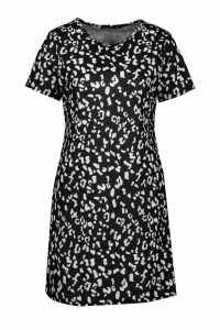 Womens Leopard Print Crew Neck Shift Dress - black - 16, Black