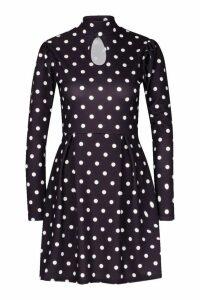 Womens Polka Dot High Neck Skater Dress - black - 12, Black