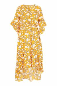 Womens Floral Print Wrap Tie Waist Midi Dress - yellow - 10, Yellow