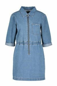 Womens Zip Up Denim Dress - blue - 16, Blue