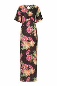 Womens Bold Floral High Neck Midi Dress - black - 16, Black
