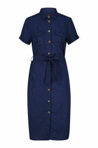 Womens Woven Button Through Tie Waist Shirt Dress - navy - XS, Navy