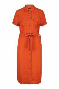Womens Woven Button Through Tie Waist Shirt Dress - orange - M, Orange