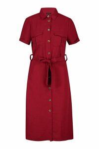 Womens Woven Button Through Tie Waist Shirt Dress - purple - M, Purple