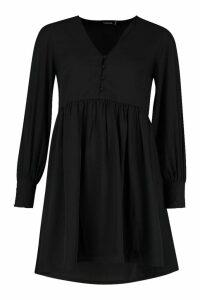Womens Woven Button Detail Smock Dress - black - 14, Black