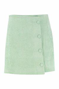 Womens Cord Button Side Mini Skirt - green - M, Green