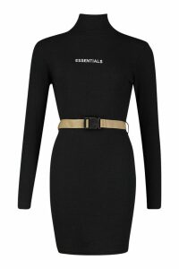 Womens Rib High Neck Slogan Belted Bodycon Mini Dress - black - 16, Black
