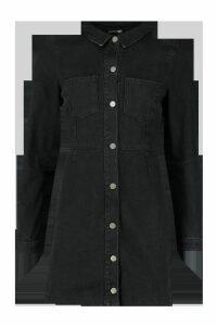 Womens Button Front Pocket Denim Dress - black - 16, Black