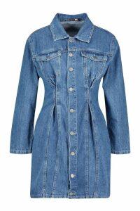Womens Seam Detail Denim Bodycon Dress - blue - 16, Blue