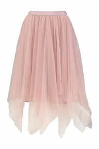 Womens Ruffle Tulle Midi Skirt - Pink - M/L, Pink