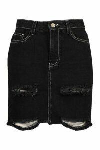 Womens Contrast Stitch Distressed Denim Mini Skirt - black - 16, Black