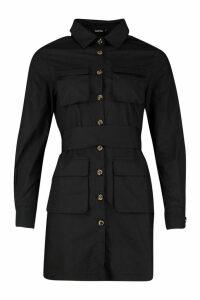 Womens Woven Pocket Button Through Shirt Dress - black - 16, Black