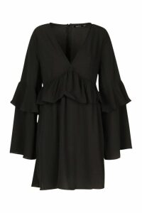 Womens Frill Detail Smock Dress - black - 16, Black