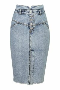 Womens Acid Wash Seam Detail Midi Skirt - blue - 12, Blue